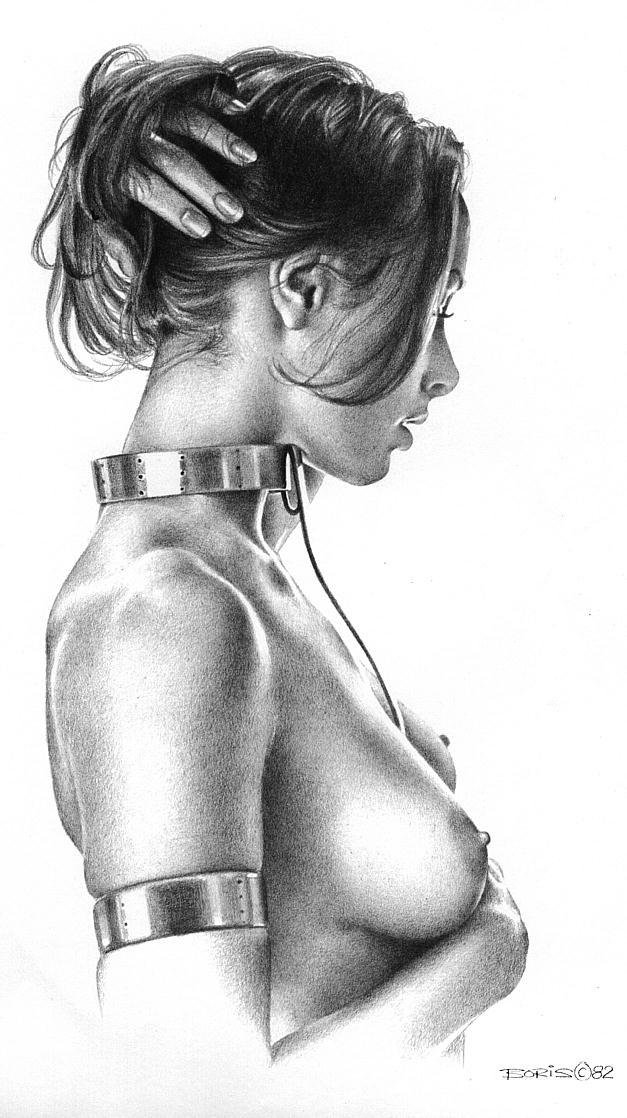 Soumise en collier, dessin de Boris Vallejo