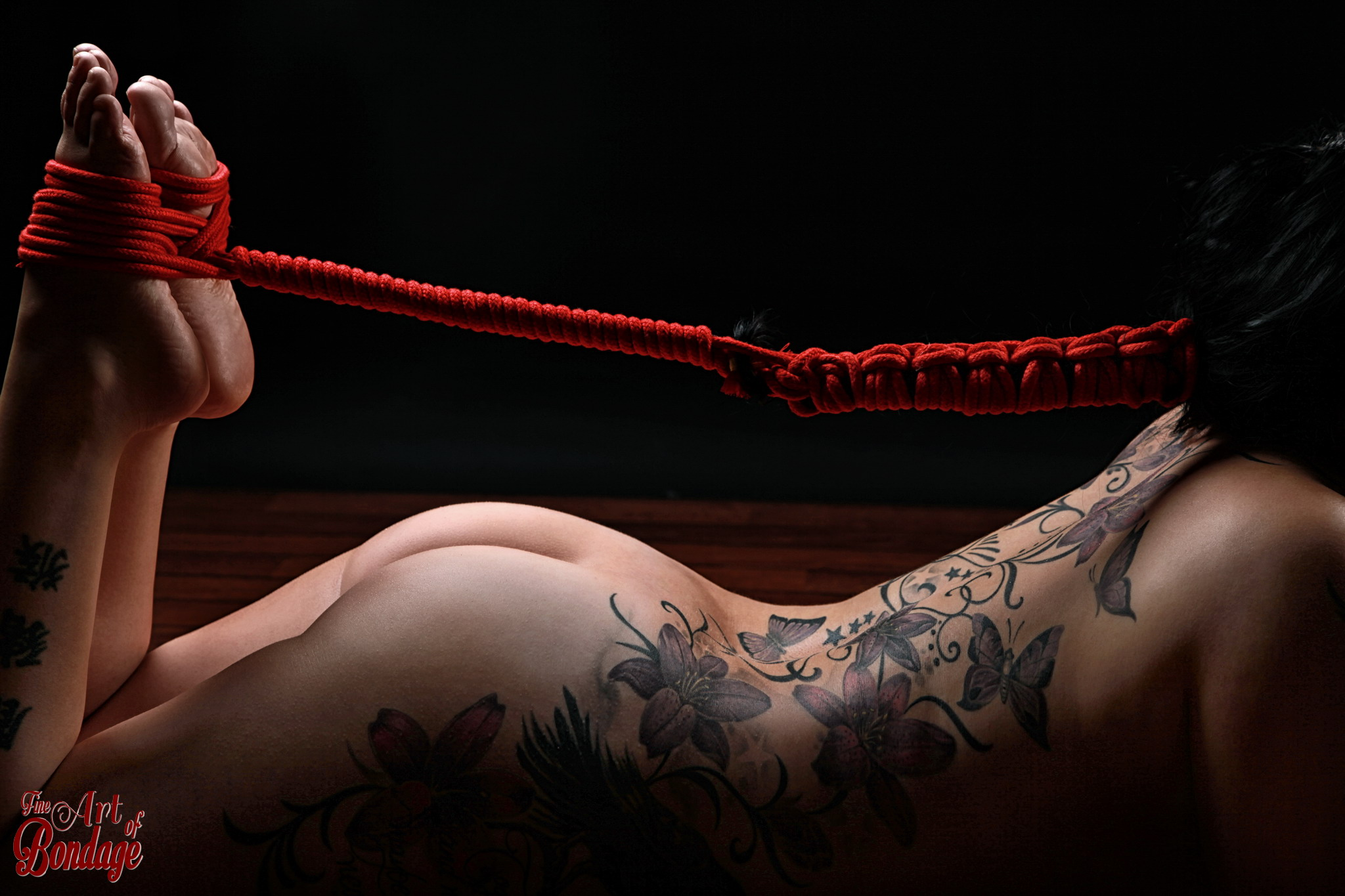Hair Bondage - Hair to feet, red rope on a nude, inked girl, Tattoo and rope - artwork/Ropeart - Fine Art of Bondage